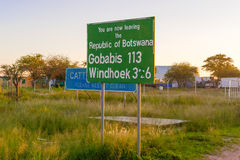 Road signs on the border between Namibia and Botswana Stock Photography