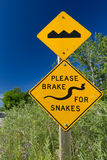 Road signs Bump and Brake for Snakes Stock Photos