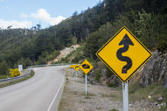 Road signs. On the carretera austral royalty free stock photography