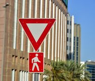 Road signs - Caution pedestrian stock image