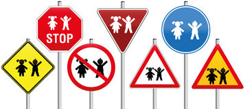 Road Signs Children Royalty Free Stock Images