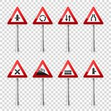 Road signs collection isolated on transparent background. Road traffic control.Lane usage.Stop and yield. Regulatory. Signs Stock Photos