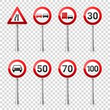 Road signs collection isolated on transparent background. Road traffic control.Lane usage.Stop and yield. Regulatory. Signs.Speed limit Royalty Free Stock Photos
