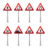 Road signs collection  on white background. Road traffic control.Lane usage.Stop and yield. Regulatory signs. Road signs collection  on white background. Road Stock Image