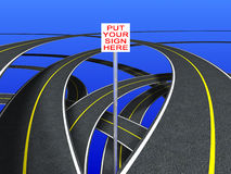 Road Signs (continuous strip). Put your sign in the place of the white shape Stock Images