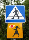 Road signs Crosswalk and Carefully, children Royalty Free Stock Photo