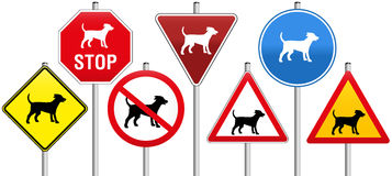 Road Signs Dogs. Seven traffic signs concerning dogs, like warning- stop- yield- or prohibition-signs Stock Photo