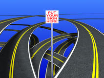 Road Signs (double strip). Put your sign in the place of the white shape Royalty Free Stock Images
