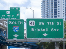 Road signs in downtown Miami, USA Stock Images
