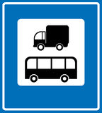 Road Signs - European. Parking area for bus, public transport and trucks sign, silhouettes of vehicles on white. Vector illustration for traffic and public Stock Images