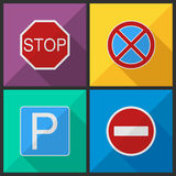 Road signs in a flat design Royalty Free Stock Image
