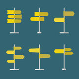 Road Signs Flat Icon Set. Set of 6 road signs flat icons. Collection of signpost icons in flat style. Blank templates for navigational text. EPS10 clean vector Stock Images