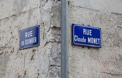 Road signs in Giverny, once home to the famous impressionist painter Claude Monet stock photo