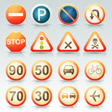 Road Signs Glossy Icons Set Stock Photo