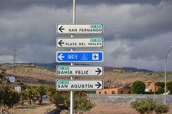 Road signs at Gran Canaria, Spain Royalty Free Stock Images