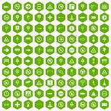 100 road signs icons hexagon green. 100 road signs icons set in green hexagon isolated vector illustration Vector Illustration
