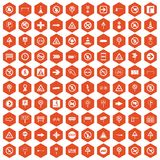 100 road signs icons hexagon orange Royalty Free Stock Photography