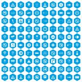 100 road signs icons set blue. 100 road signs icons set in blue hexagon isolated vector illustration Royalty Free Stock Image