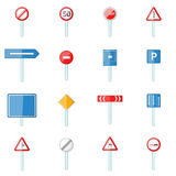 Road signs icons set, cartoon style Royalty Free Stock Photography