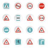 Road signs icons set, flat style Royalty Free Stock Photo