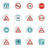 Road signs icons set, flat style. Road signs icons set. Flat illustration of 16 road signs icons for web vector illustration
