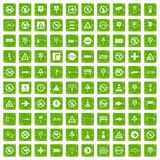 100 road signs icons set grunge green. 100 road signs icons set in grunge style green color isolated on white background vector illustration Vector Illustration