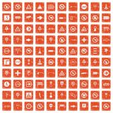 100 road signs icons set grunge orange. 100 road signs icons set in grunge style orange color isolated on white background vector illustration Royalty Free Stock Photography