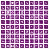 100 road signs icons set grunge purple. 100 road signs icons set in grunge style purple color isolated on white background vector illustration Royalty Free Stock Photos