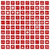 100 road signs icons set grunge red. 100 road signs icons set in grunge style red color isolated on white background vector illustration stock illustration