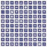 100 road signs icons set grunge sapphire. 100 road signs icons set in grunge style sapphire color isolated on white background vector illustration stock illustration