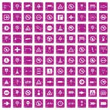100 road signs icons set grunge pink. 100 road signs icons set in grunge style pink color isolated on white background vector illustration vector illustration