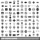 100 road signs icons set in simple style. For any design vector illustration royalty free illustration