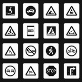 Road signs icons set, simple style Royalty Free Stock Images