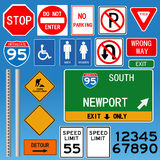 Road Signs Illustration. On a blue background Royalty Free Stock Image