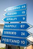 Road signs with indicated the direction to take and the distance in Amalfi Coast. Italy. Amalfi Coast, Italy - June 16, 2017: Road signs with indicated the royalty free stock photos