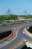 Road signs on interchange on the highway. On Gazela bridge in Belgrade, Serbia Royalty Free Stock Images