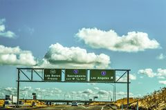 Road signs in Interstate 5 Stock Photo