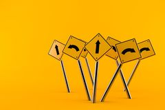 Road signs. Isolated on orange background. 3d illustration Royalty Free Stock Photo