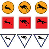 Road signs with kangaroo, horse and rabbit. Raster Stock Photo
