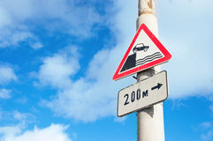 Road signs. On lamppost in Russia - unprotected quayside or riverbank and sign pointer of distance to the object Royalty Free Stock Photos