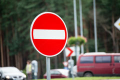Road signs and lines on asphalt Royalty Free Stock Photography