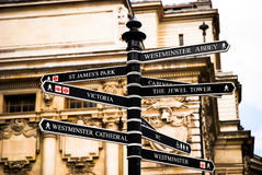 Road signs in london uk. View of road signs in london united kingdom stock photography