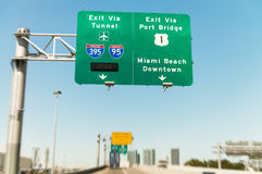 Road signs in Miami from a moving vehicle Royalty Free Stock Photography