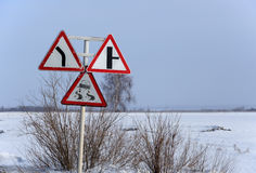 Road signs in the middle of nowhere. Somwhere in central winter Russia Stock Image