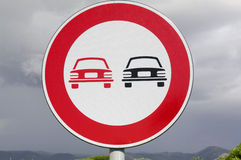 No overtaking. Road sign Royalty Free Stock Photos
