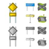 Road signs and other web icon in cartoon,monochrome style.Road junctions icons in set collection. Road signs and other  icon in cartoon,monochrome style.Road Royalty Free Stock Image