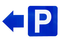 The road signs parking on the left Royalty Free Stock Photo
