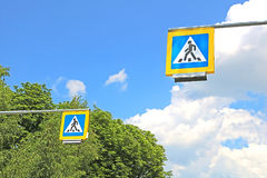 Road signs pedestrian crossing. On background of trees Stock Image