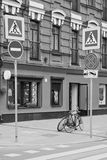 Road signs and pedestrian crossings. In the city Stock Image