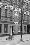 Road signs and pedestrian crossings in city black and white. Road signs and pedestrian crossings black and white Royalty Free Stock Photo